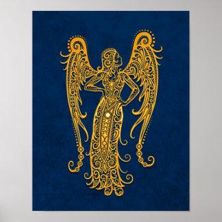Intricate Yellow Virgo Zodiac on Blue Poster