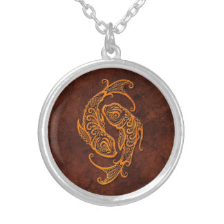 Intrictate Stone Pisces Symbol Silver Plated Necklace