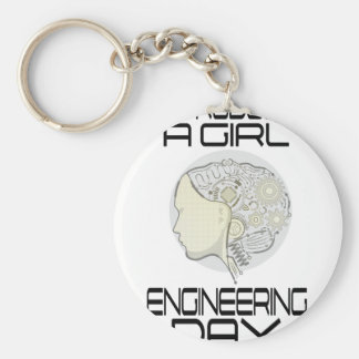 Introduce A Girl To Engineering Day 16th February Basic Round Button Keychain