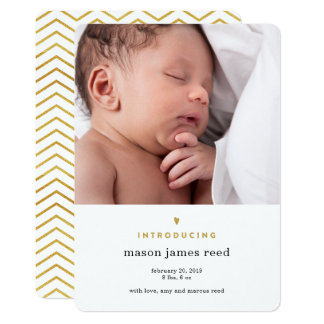 Introducing | Gold Foil Modern Birth Announcement