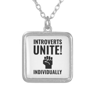 Introverts Unite Silver Plated Necklace