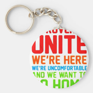 INTROVERTS UNITE WE'RE HERE WE'RE UNCOMFORTABLE... BASIC ROUND BUTTON KEYCHAIN
