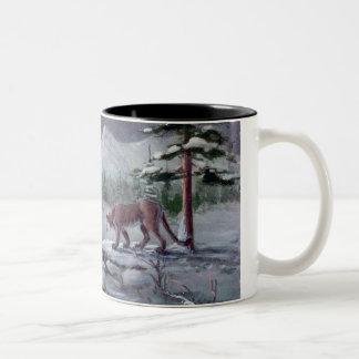 INTRUDER COUGAR by SHARON SHARPE Two-Tone Coffee Mug
