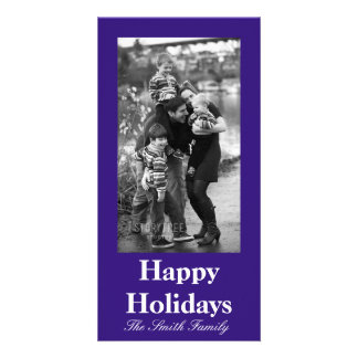 Intuitively Idealistic Blue Color Customizable Photo Greeting Card