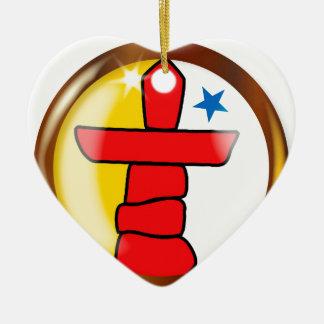 Inuit Proud Flag Button Ceramic Heart Ornament