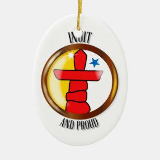 Inuit Proud Flag Button Ceramic Oval Ornament