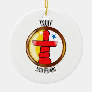Inuit Proud Flag Button Round Ceramic Ornament