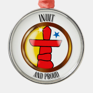Inuit Proud Flag Button Silver-Colored Round Ornament