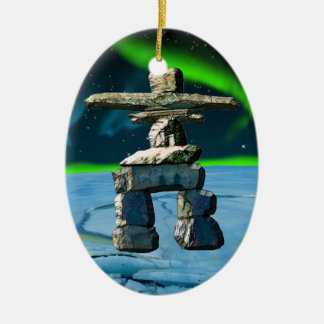 Inukshuk Native American Spirit Stones Ceramic Oval Ornament