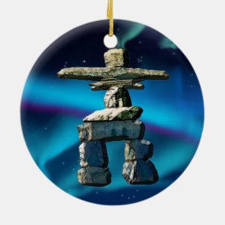 Inukshuk Native American Spirit Stones Round Ceramic Ornament