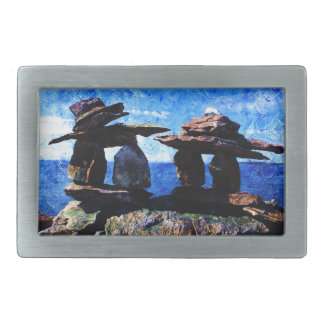 Inukshuk Rectangular Belt Buckle