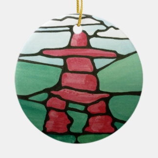 Inukshuk Round Ceramic Ornament