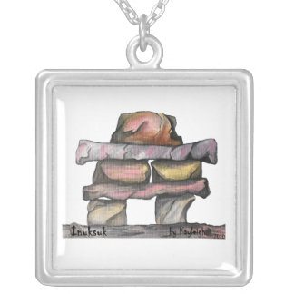 Inuksuk Square Pendant Necklace