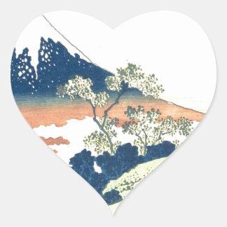 Inume Pass in Kai Province - Katsushika Hokusai Heart Sticker