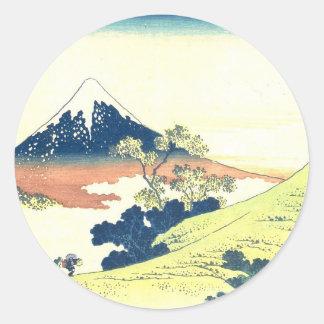 Inume Pass in Kai Province - Katsushika Hokusai Round Sticker