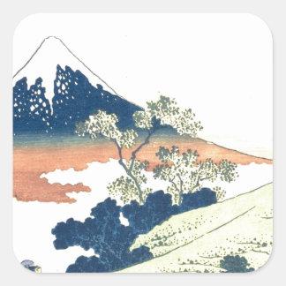 Inume Pass in Kai Province - Katsushika Hokusai Square Sticker