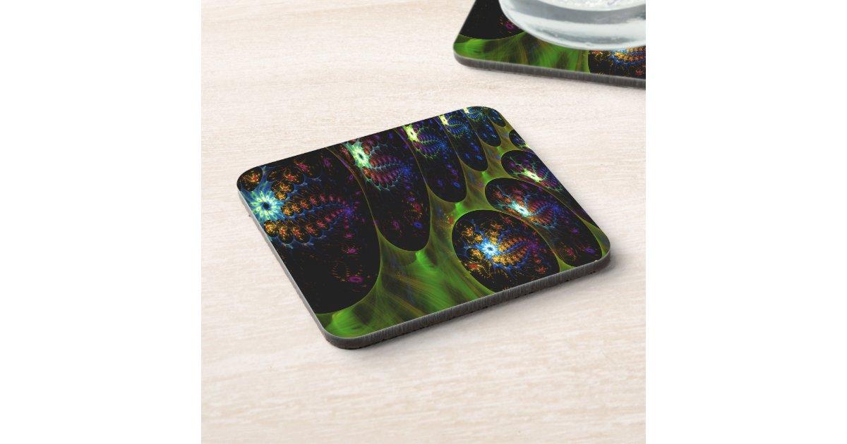 Invasion Fractal Design Beverage Coasters Zazzle