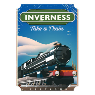 inverness scotland locomotive travel poster card