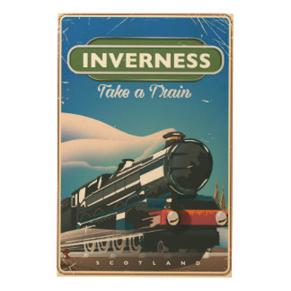 inverness scotland locomotive travel poster wood canvases