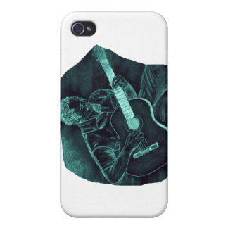 invert acoustic guitar player sitting pencil sketc iPhone 4 cover