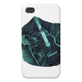 invert acoustic guitar player sitting pencil sketc iPhone 4 cover
