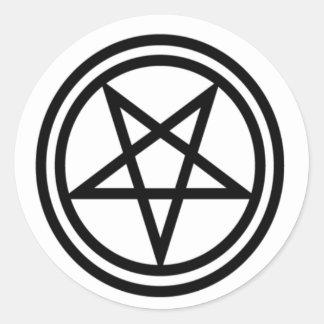 Inverted Black Pentagram Round Sticker