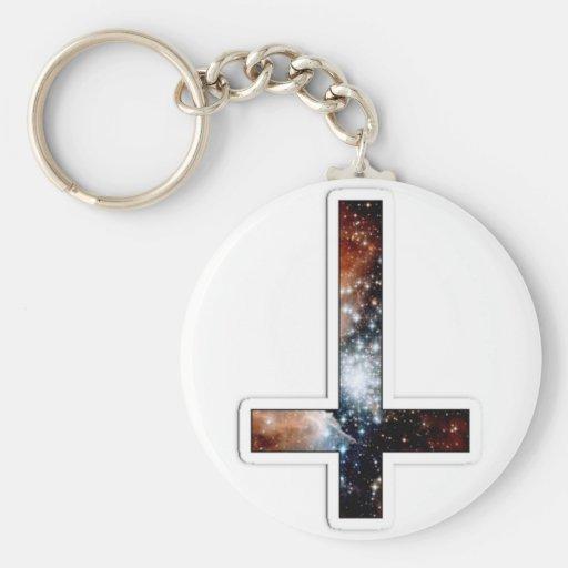 Inverted Cross Galaxy Cosmic Universe Keychain