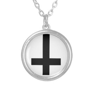 inverted cross silver plated necklace