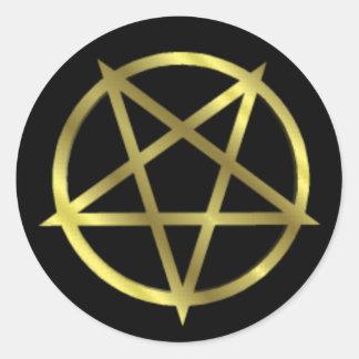 Inverted Gold Pentagram Classic Round Sticker