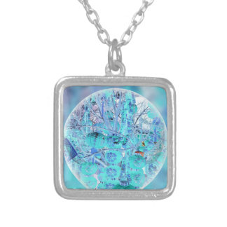 Inverted Neon Pastel Blue Lavender Abstract Silver Plated Necklace