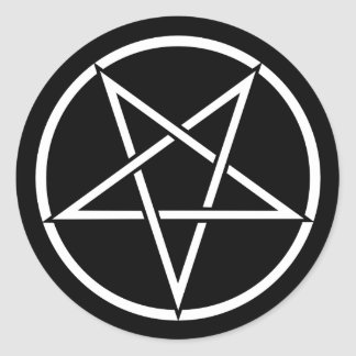 Inverted pentagram (background color customizable) classic round sticker
