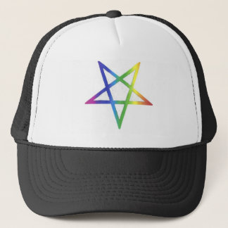 Inverted rainbow pentagram hat