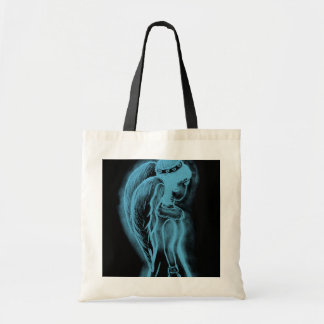 Inverted Sideways Angel in Black and Light Blue