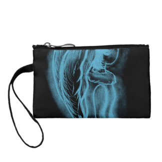 Inverted Sideways Angel in Black and Light Blue Coin Purse