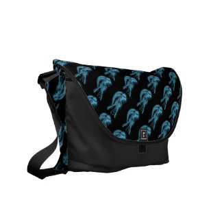 Inverted Sideways Angel in Black and Light Blue Commuter Bag