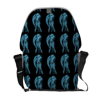 Inverted Sideways Angel in Black and Light Blue Commuter Bags