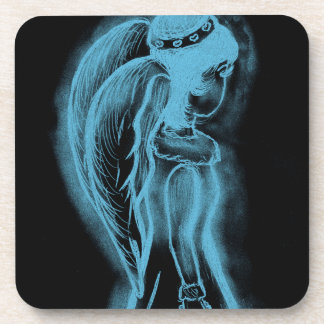 Inverted Sideways Angel in Black and Light Blue Drink Coaster