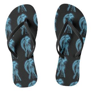 Inverted Sideways Angel in Black and Light Blue Flip Flops