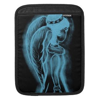 Inverted Sideways Angel in Black and Light Blue iPad Sleeves