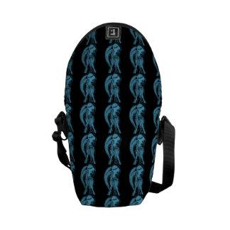 Inverted Sideways Angel in Black and Light Blue Messenger Bags