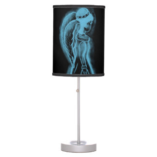Inverted Sideways Angel in Black and Light Blue Table Lamp