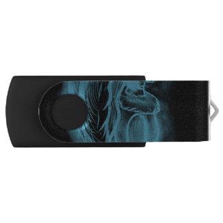 Inverted Sideways Angel in Black and Light Blue USB Flash Drive