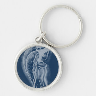 Inverted Sideways Angel in Dusky Blues Silver-Colored Round Keychain