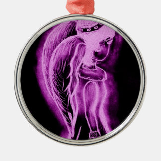 Inverted Sideways Angel in Pink and Black Silver-Colored Round Ornament