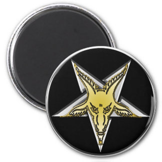 Inverted Silver Pentagram with Golden Goat head 2 Inch Round Magnet