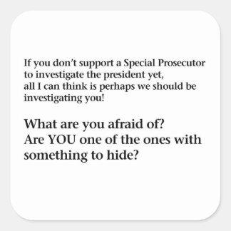 Investigate Trump Square Sticker