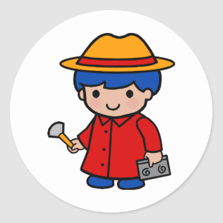 Investigator Boy Round Sticker