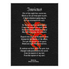 Invictus, inspirational poem black with griffon poster