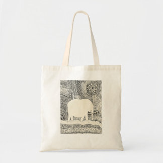 Invisible Elephant Doodle Tote Bag