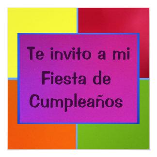 """Invitación - Fiesta de Cumpleaños - Multicolor 5.25"""" Square Invitation Card"""